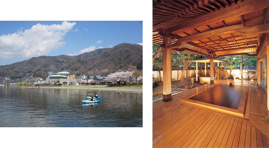 諏訪湖畔の桜/上諏訪温泉ホテル鷺乃湯